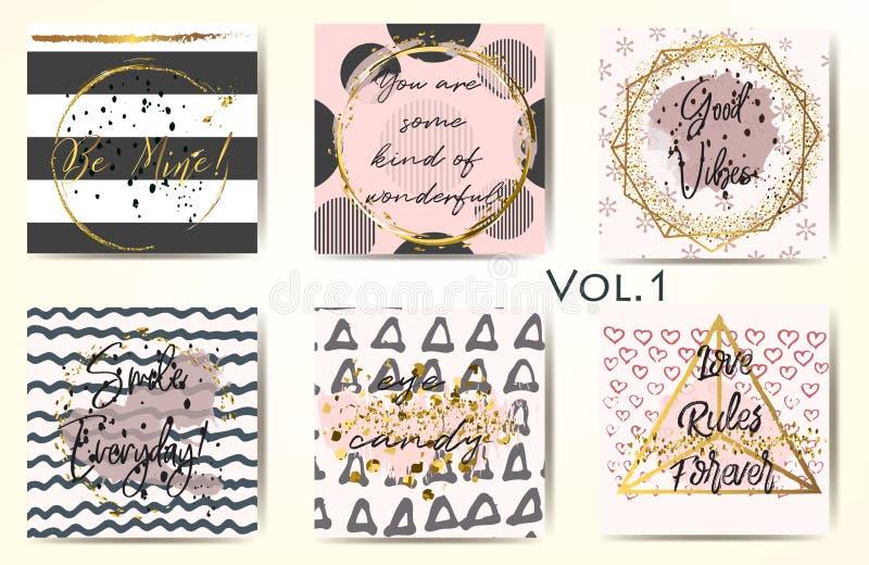 Inzameling van abstracte malplaatjes met gouden kaders, patronen stock illustratie