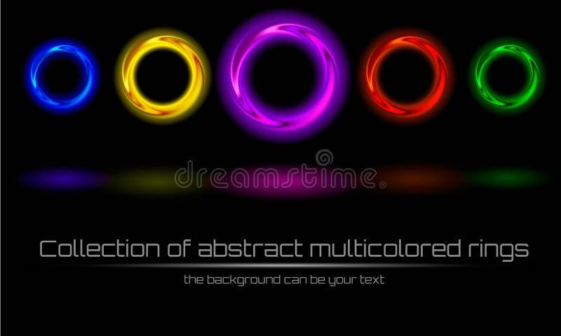 Inzameling van abstracte multicolored, kleurrijke ring stock illustratie