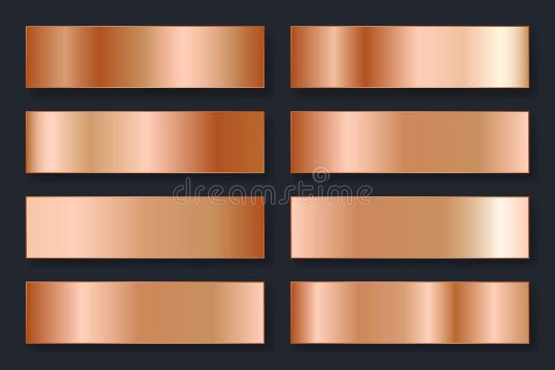 Inzameling van achtergronden met een metaalgradiënt Briljante platen met bronseffect Vector illustratie stock illustratie