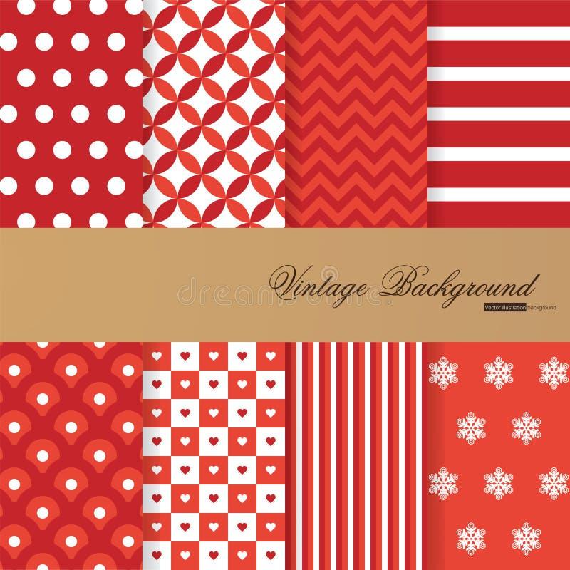 Inzameling van 8 achtergronden in uitstekende stijl vector illustratie