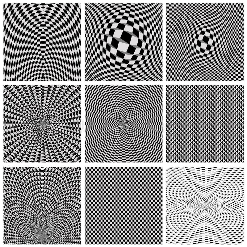 Inzameling van achtergrondoptische illusies stock illustratie