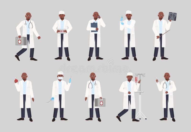 Inzameling van Afrikaanse Amerikaanse mannelijke arts, arts of chirurg die zich in verschillende houdingen bevinden Bundel van de vector illustratie