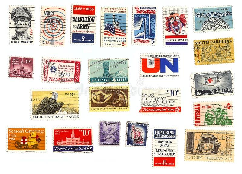 Inzameling van Amerikaanse zegels royalty-vrije stock fotografie