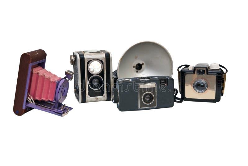 Inzameling van Antieke Camera's stock foto
