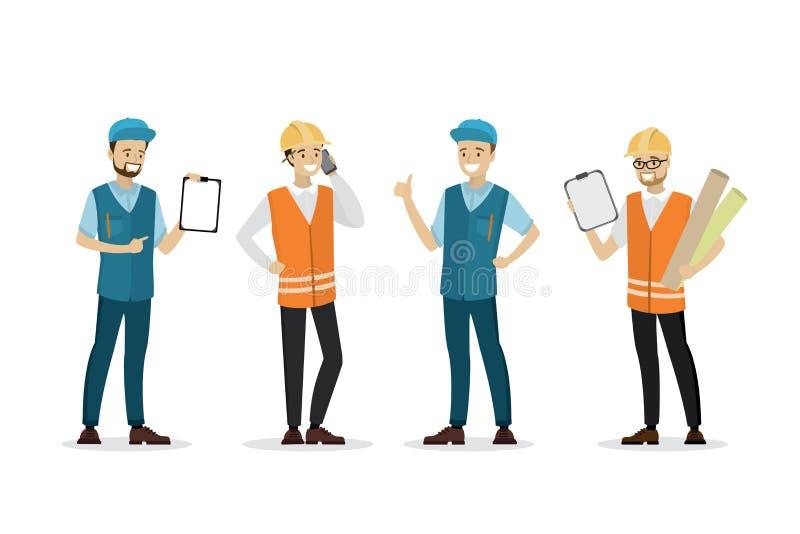 Inzameling van arbeids de mannelijke mensen, die op witte achtergrond wordt geïsoleerd stock illustratie