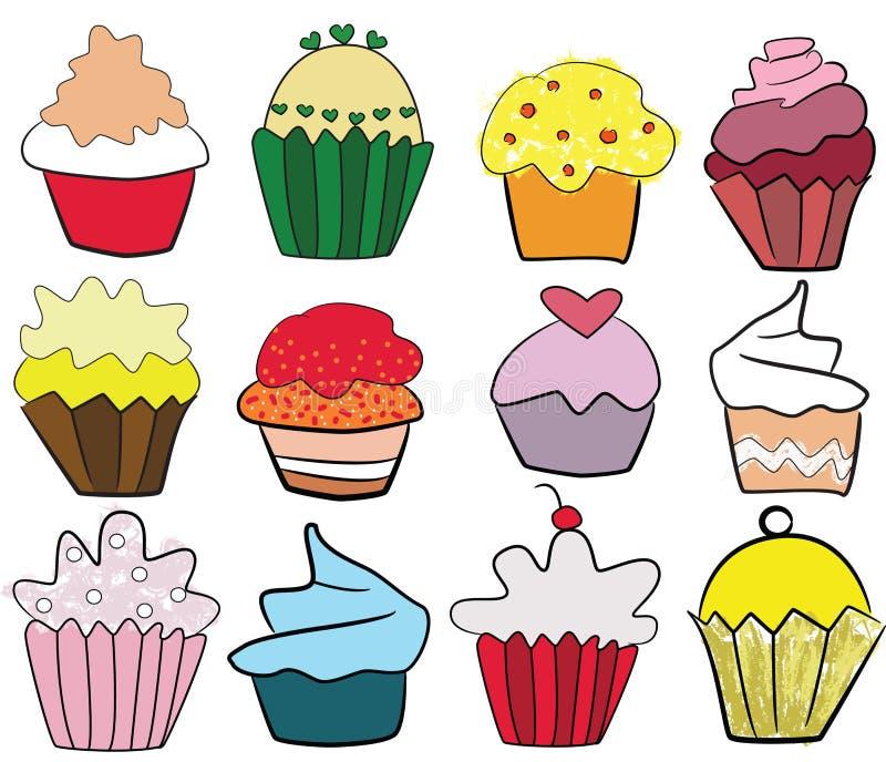 Inzameling van artistieke kleurrijke cupcakes, illustratie uit de vrije hand stock illustratie