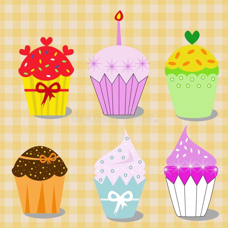 Inzameling van artistieke kleurrijke cupcakes, illustratie uit de vrije hand vector illustratie