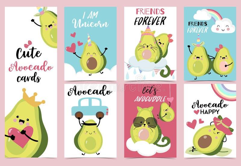 Inzameling van avocadoreeks met hart, regenboog, auto, hoorn en wolk vector illustratie