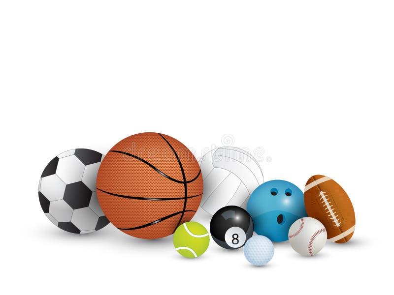 Inzameling van ballen op witte achtergrond stock fotografie