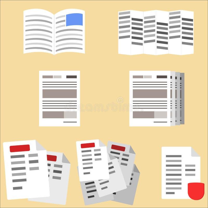 Inzameling van bedrijfsdocumenten, vlieger, omslag en contracten vector illustratie