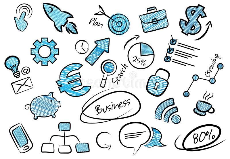 Inzameling van bedrijfspictogrammen in grappige krabbelstijl vector illustratie