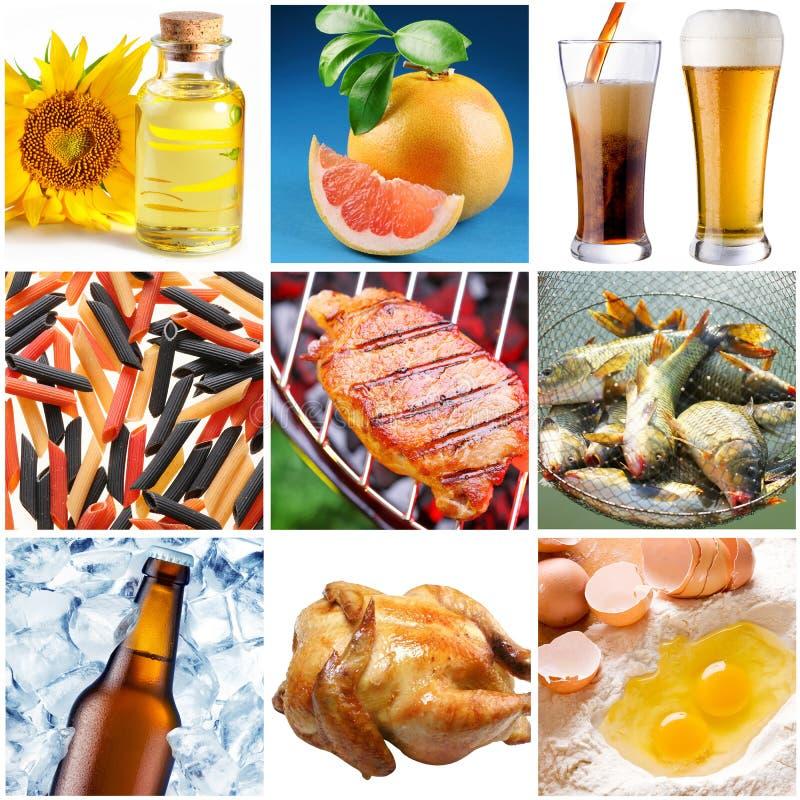 Inzameling van beelden van voedsel royalty-vrije stock afbeeldingen