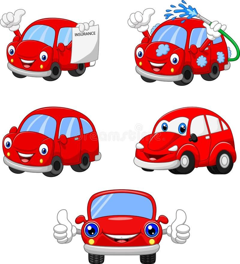 Inzameling van beeldverhaal de grappige rode auto's vector illustratie
