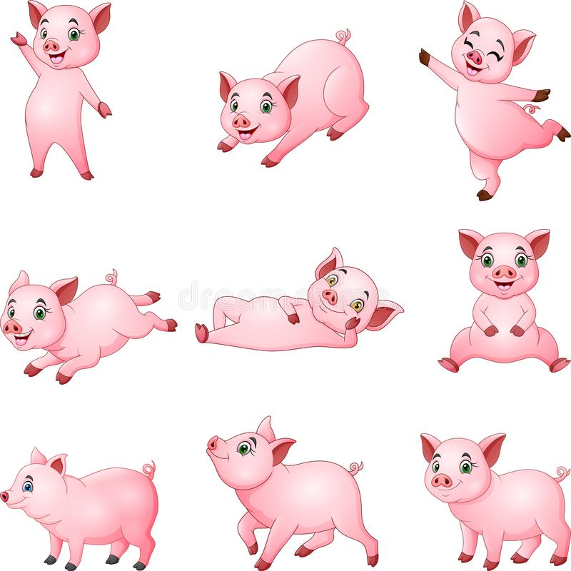 Inzameling van beeldverhaal de kleine varkens met het verschillende stellen stock illustratie