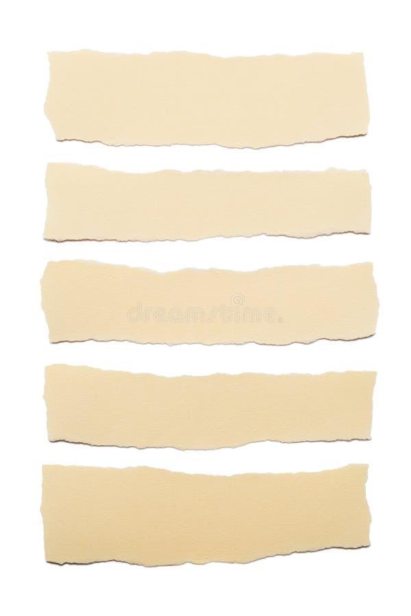 Inzameling van beige document strepen met gescheurde die randen op witte achtergrond worden geïsoleerd stock fotografie