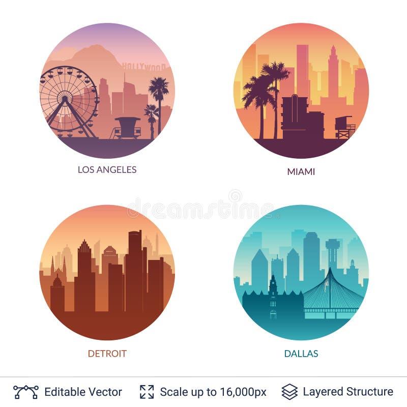 Inzameling van beroemde stad scapes stock illustratie