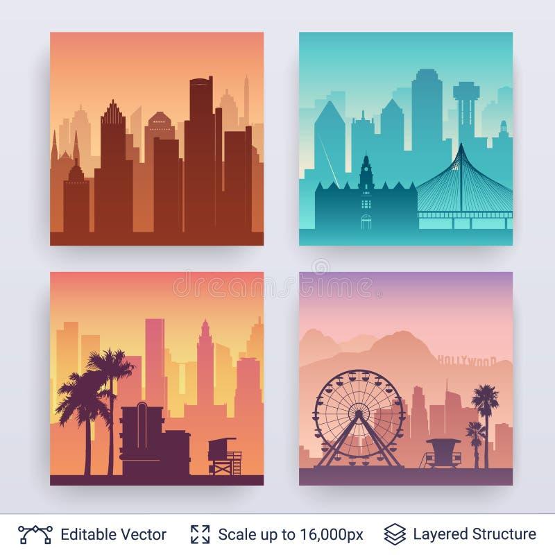 Inzameling van beroemde stad scapes royalty-vrije illustratie
