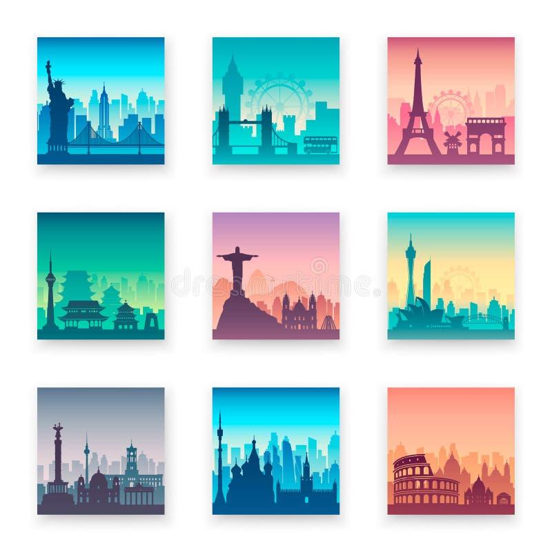 Inzameling van beroemde stadskaap royalty-vrije illustratie