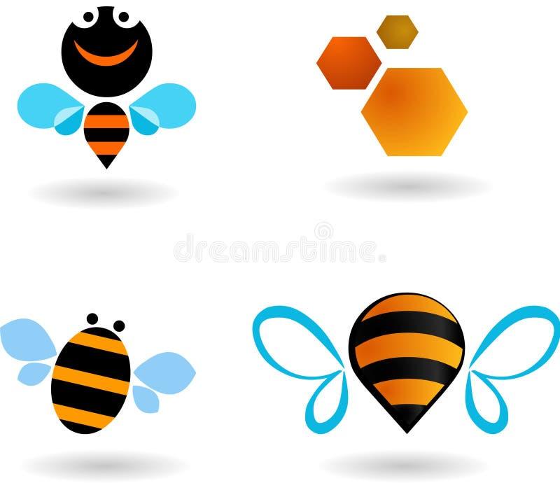 Inzameling van bijenpictogrammen royalty-vrije illustratie