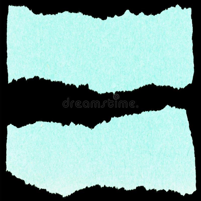 Inzameling van blauw gescheurd document stock afbeelding