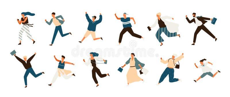 Inzameling van blije lopende mannen en vrouwen gekleed in vrijetijdskleding Reeks grappige glimlachende mensen in haast of haast royalty-vrije illustratie