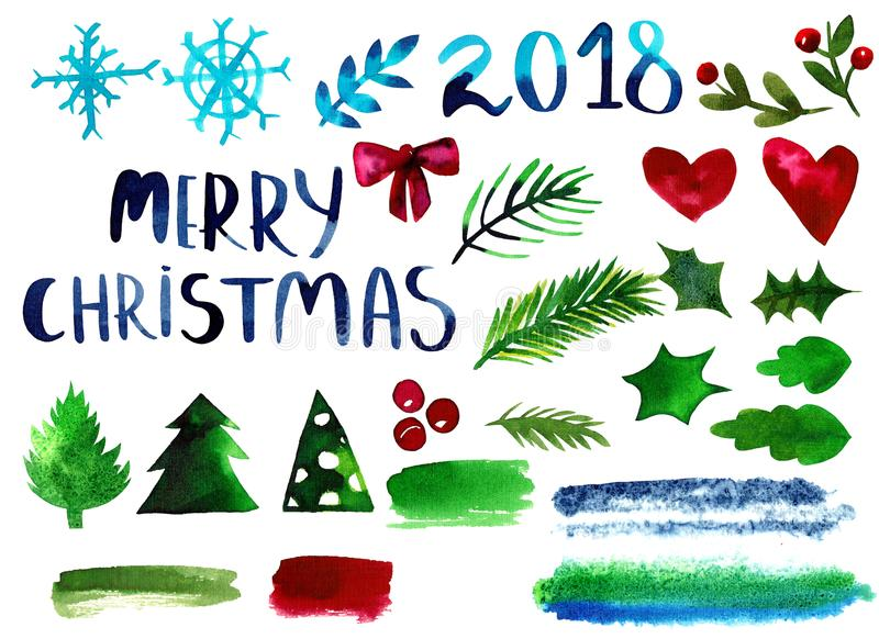 Inzameling van Bloemen en Kerstmis Bloemenelementen - in Waterverfstijl stock illustratie