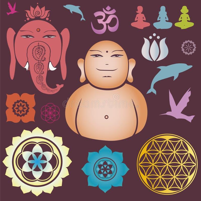 De inzameling van Buddah van bloemen esoterische elementen vector illustratie
