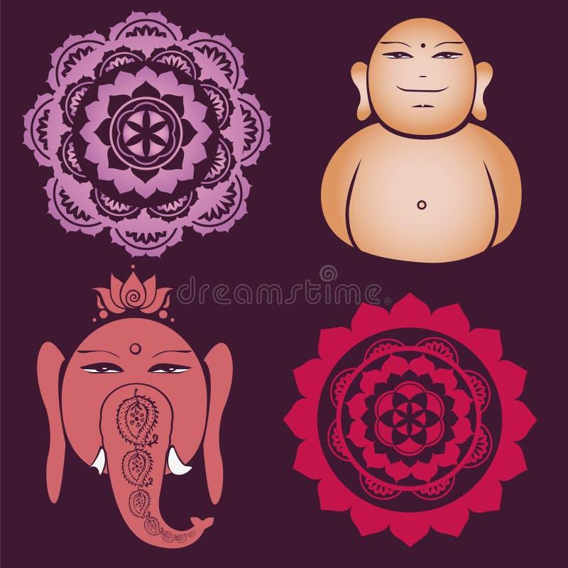 De inzameling van Buddah van bloemen esoterische ontwerpen vector illustratie
