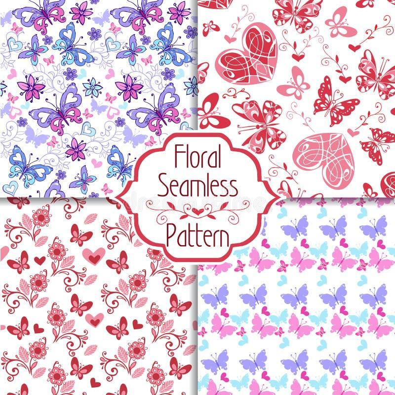 Inzameling van bloemen naadloos patroon met decoratieve harten en vlinders Uitstekend naadloos ornament in blauwe en roze kleuren royalty-vrije illustratie