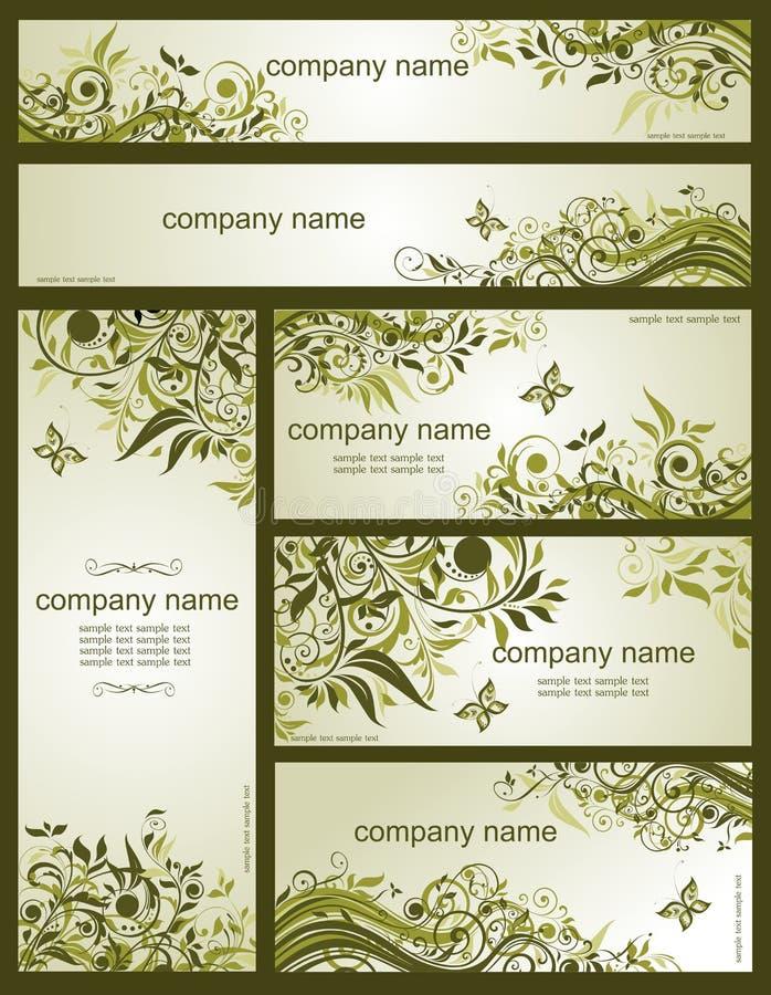 Inzameling van bloemen retro olijfmalplaatjes royalty-vrije illustratie