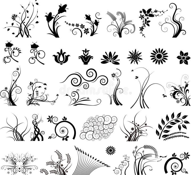 Inzameling van bloemenontwerpen vector illustratie
