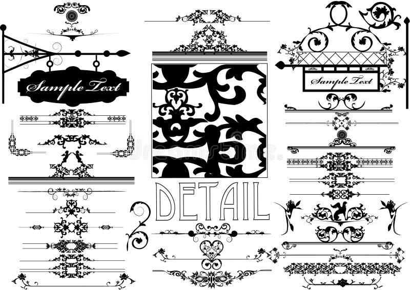Inzameling van Bloemenornament royalty-vrije illustratie