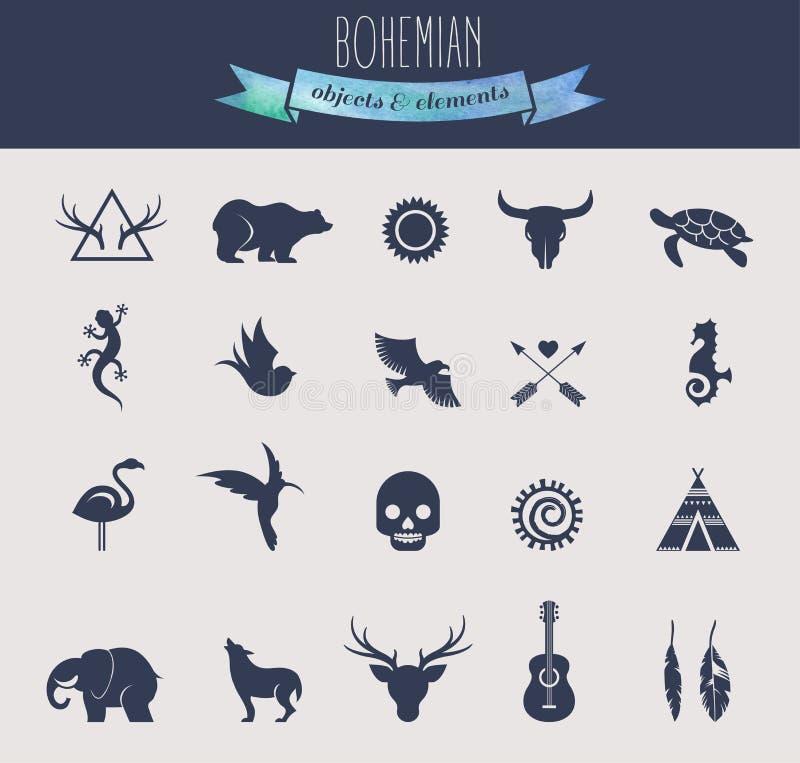 Inzameling van Boheemse, Stammenvoorwerpen, elementen vector illustratie