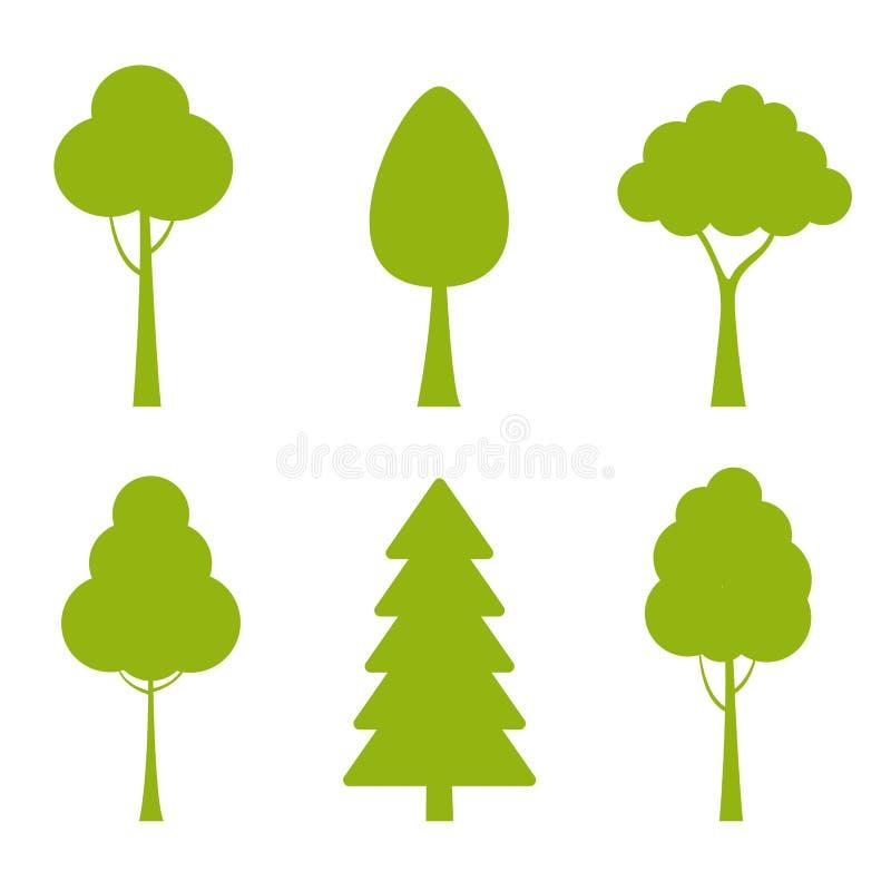 Inzameling van bomenillustraties Kan worden gebruikt om eender welk aard of gezond levensstijlonderwerp te illustreren vector illustratie