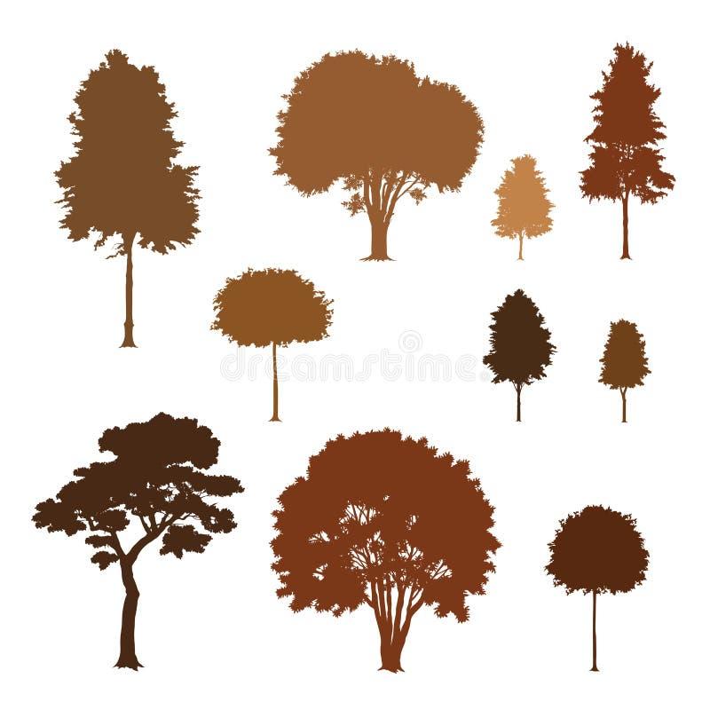 Inzameling van bomensilhouetten vector illustratie