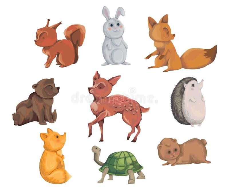 Inzameling van bosdieren Decoratieve elementen in waterverfstijl voor groetkaart, uitnodiging, de partij van de babydouche beeldv vector illustratie