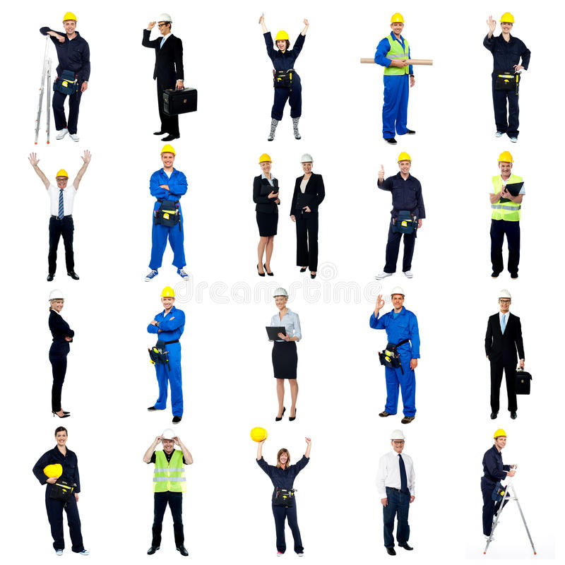 Inzameling van bouwvakkers royalty-vrije stock afbeeldingen