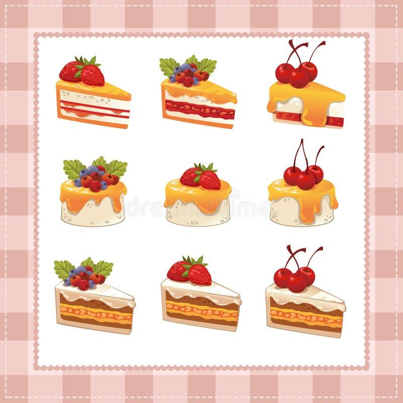 Inzameling van cakes op witte achtergrond stock illustratie