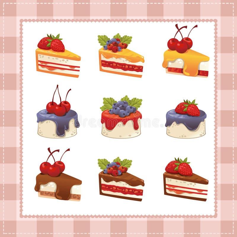 Inzameling van cakes op witte achtergrond vector illustratie