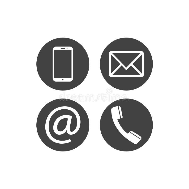 Inzameling van communicatie symbolen Contact, e-mail, mobiele telefoon, berichtpictogrammen Vlakke cirkelknopen Vector illustrati stock illustratie