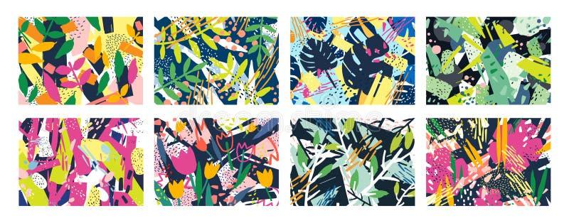 Inzameling van creatieve abstracte horizontale achtergronden of achtergronden met boomtakken, bladeren, kleurrijke vlekken en vector illustratie