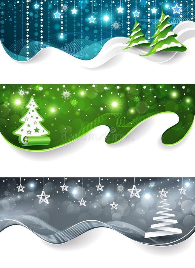 Inzameling van de banners van Kerstmis stock illustratie