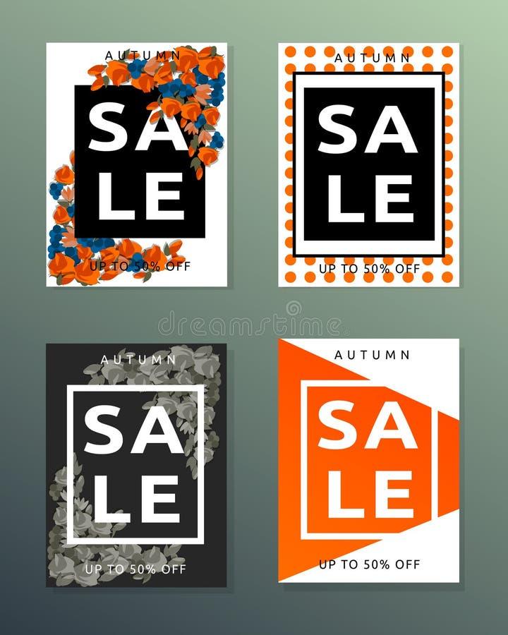 Inzameling van de banners van de verkoopherfst stock afbeelding