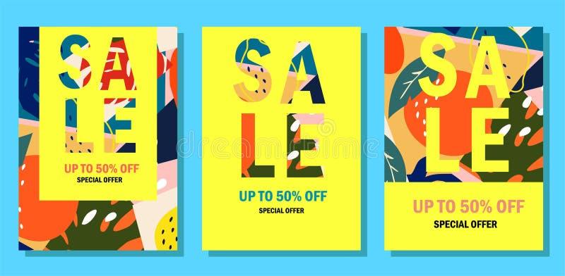 Inzameling van de banners van de de zomerverkoop In abstract ontwerp Moderne exotische tropische vruchten en installaties vector illustratie