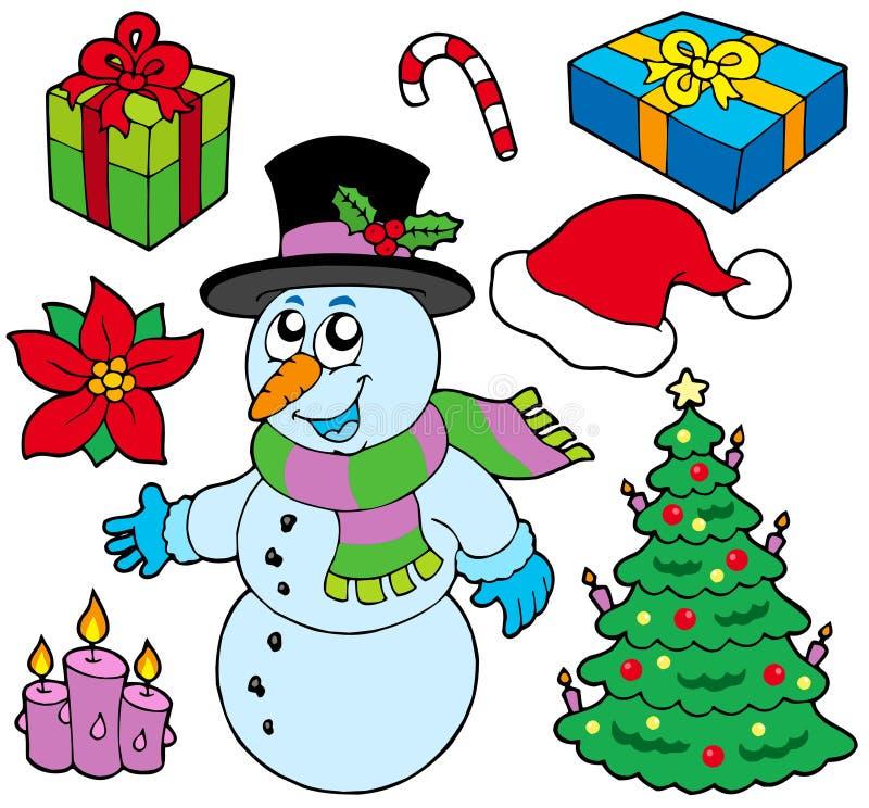 Inzameling van de beelden van Kerstmis vector illustratie