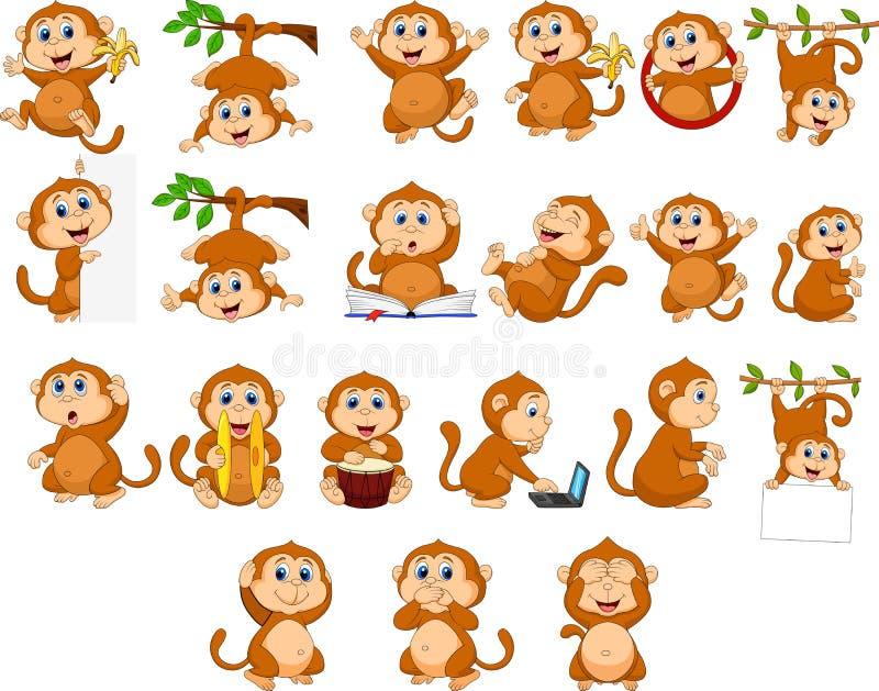 Inzameling van de beeldverhaal de gelukkige aap met verschillende acties stock illustratie