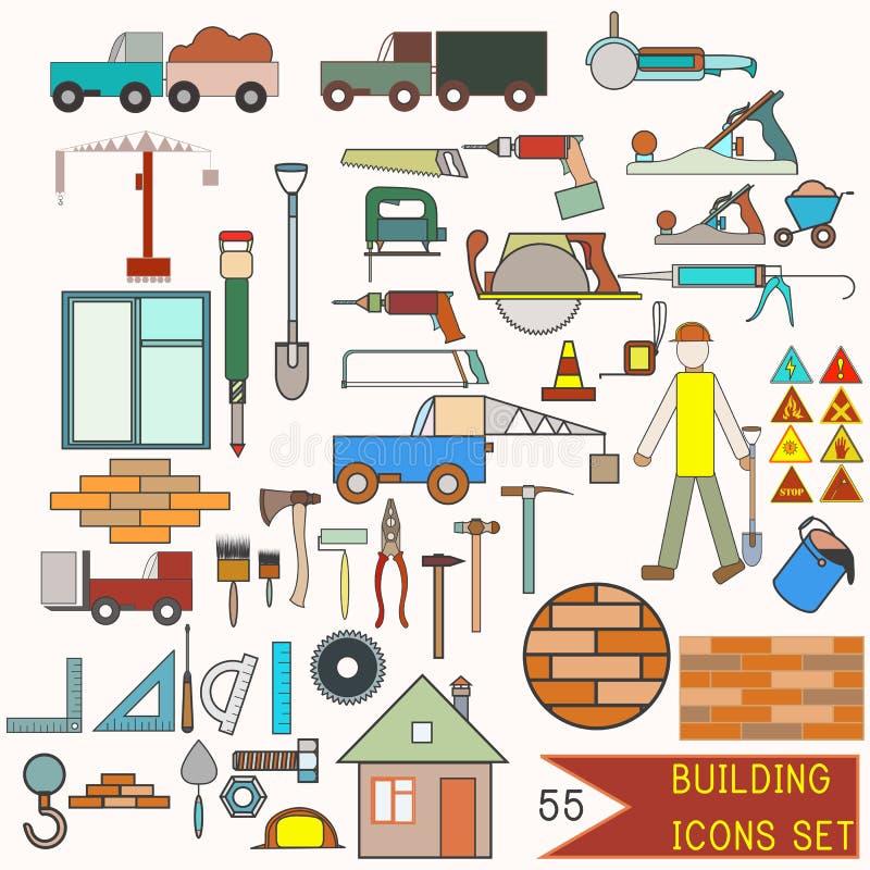Inzameling van de bouw van pictogrammen 55 elementen stock illustratie
