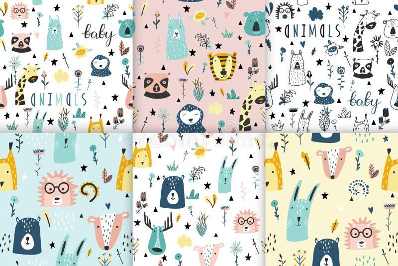 Inzameling van de dieren de naadloze grappige patronen van de safaribaby royalty-vrije illustratie
