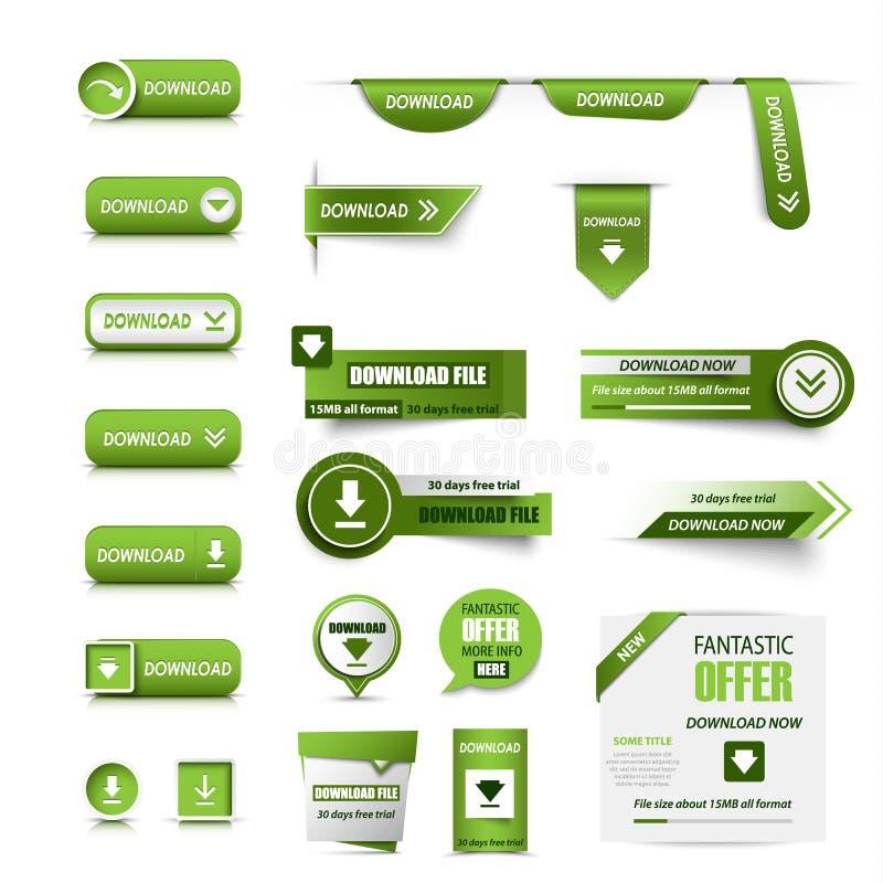 Inzameling van de download van Webknopen in groen ontwerp royalty-vrije illustratie