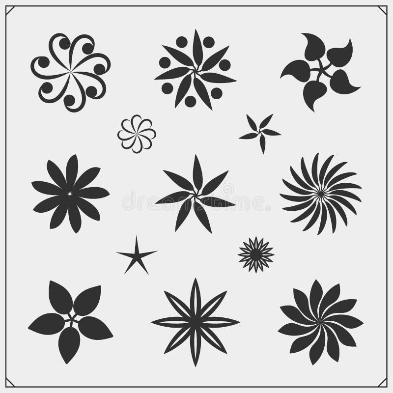 Inzameling van de elementen van het bloemontwerp Bloemen geplaatste pictogrammen vector illustratie